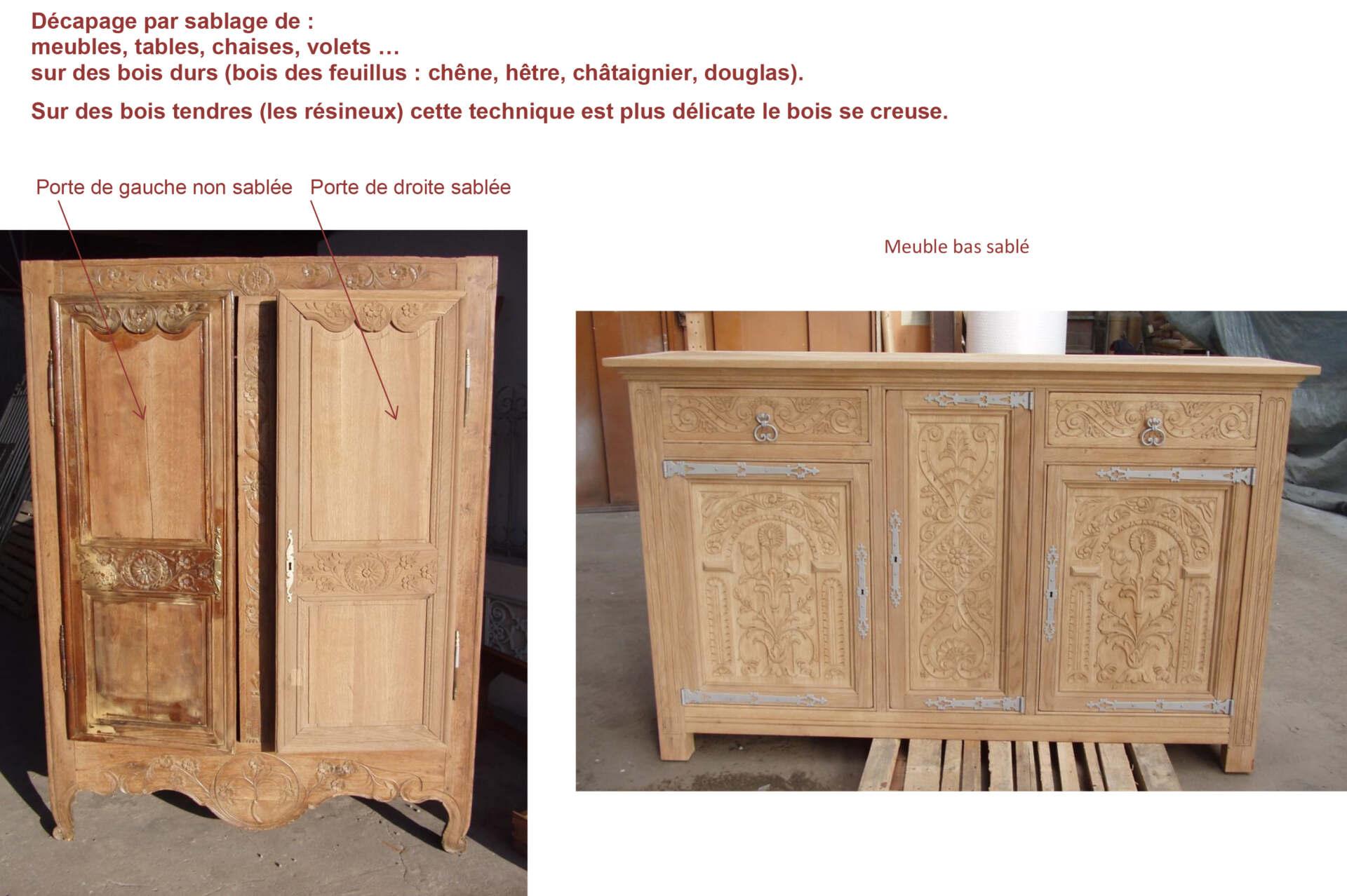 Décapage par sablage de meubles